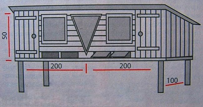 Схема и размеры двухместной клетки